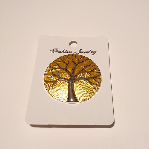 Tree of Life Magnet Brooch Yellow