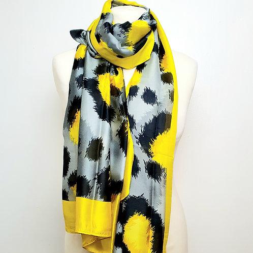 Animal Print Silk Scarf Grey/ Yellow