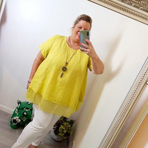 Gabrielle Linen & Necklace Top Lime Green
