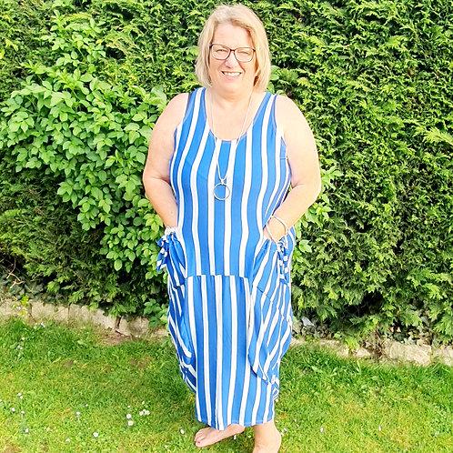 Florina Stripe Dress Royal Blue