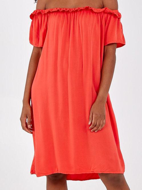 Bardot Dress Coral