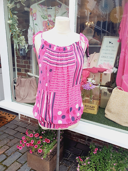 Abby Strappy Top Hot Pink