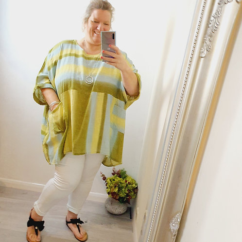 Lucy Oversized Linen Top Lime