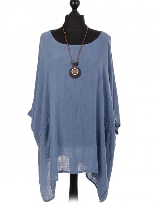 Batwing Top With Necklace Denim