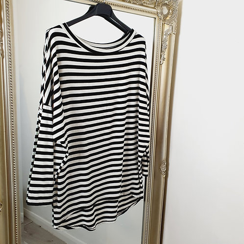 Lisa Stripe Top Black