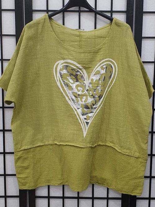 Foil Heart  top Lime