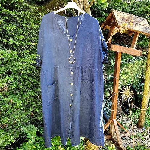 Cassie Button Linen Dress Navy
