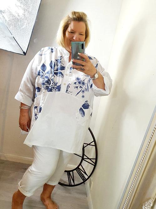 Flower Shirt Navy/White