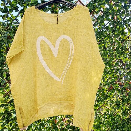 Melinda Heart Linen Top Lime