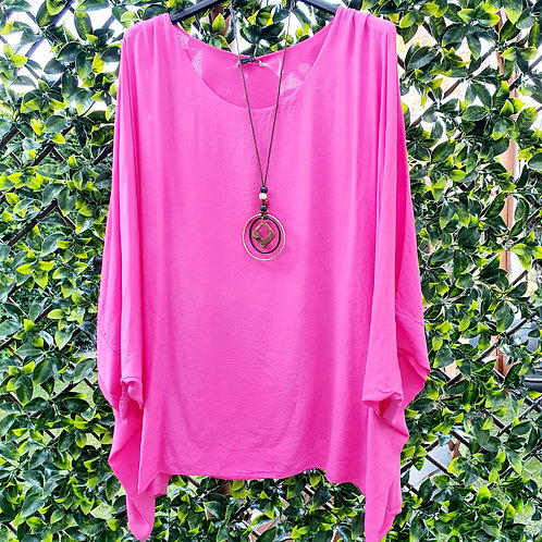Adele Floaty Top & Necklace Hot Pink