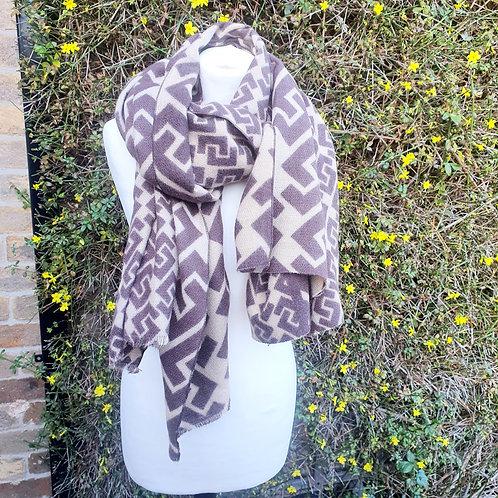 Designer Inspired Blanket Scarf Biege