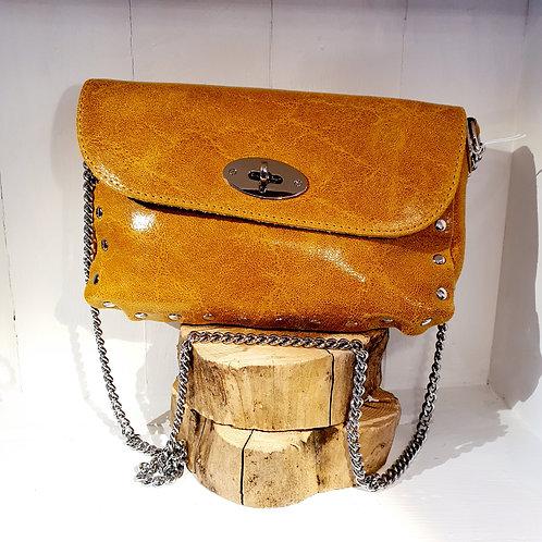 Leather Cross body Bag Mustard