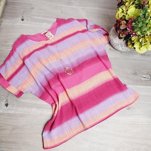 Dixie Stripe Top Pink