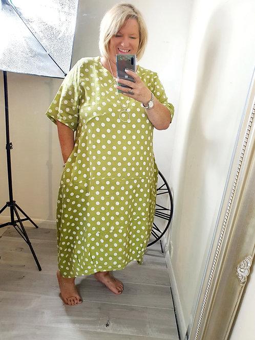 Trudie Dotty Dress Lime