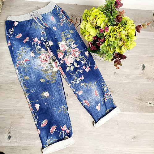 Tilly  Blue  Floral Joggers Size 2