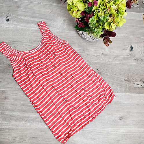 Belinda Stripe Vest Coral / White