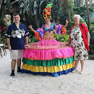 Carmen Miranda Live Strolling table at R.F. Orchids.
