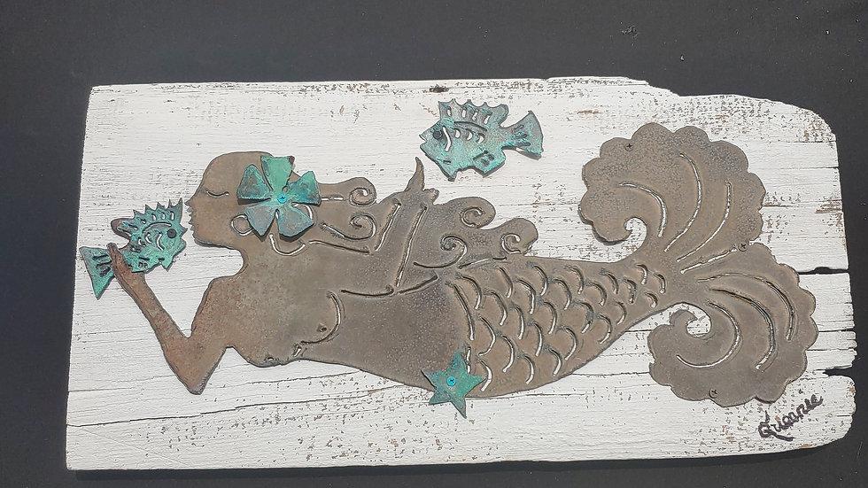 Mermaid in vintage metal with copper accessories