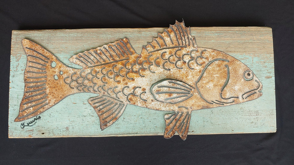 Redfish in vintage metal on 19th century board