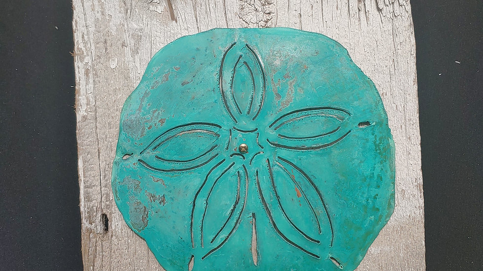 Oxidized,hammered copper sand dollar on vintage barnwood