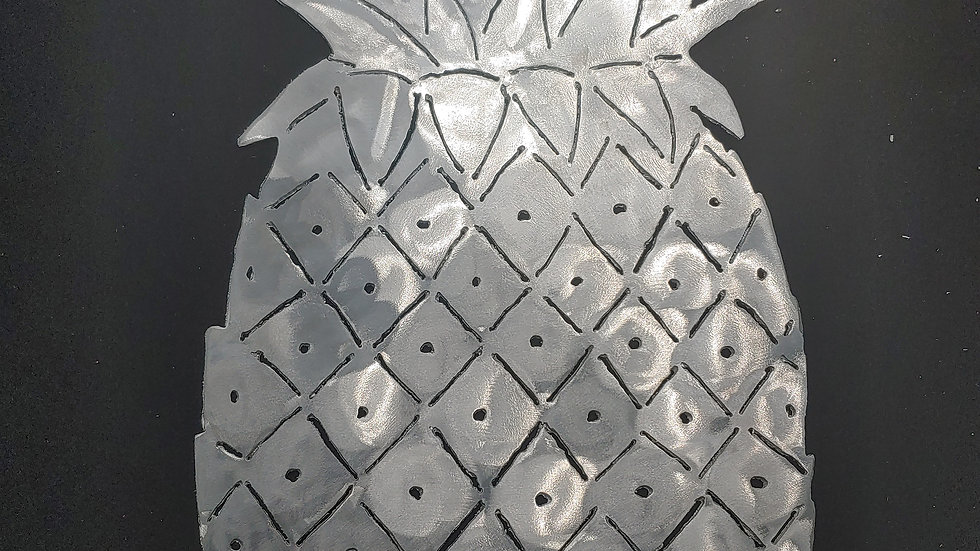 Aluminum, hand cut pineapple