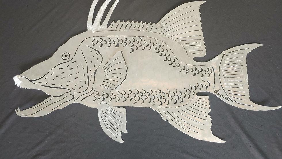 Hand cut aluminum Hogfish.