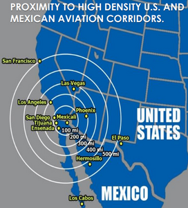 Figure 3. Proximity to High Density U.S. and Mexican Aviation Corridors