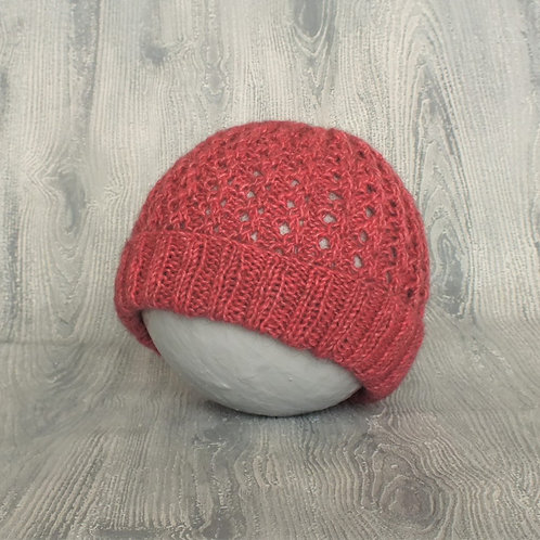 Dusky Pink Lace Baby Beanie