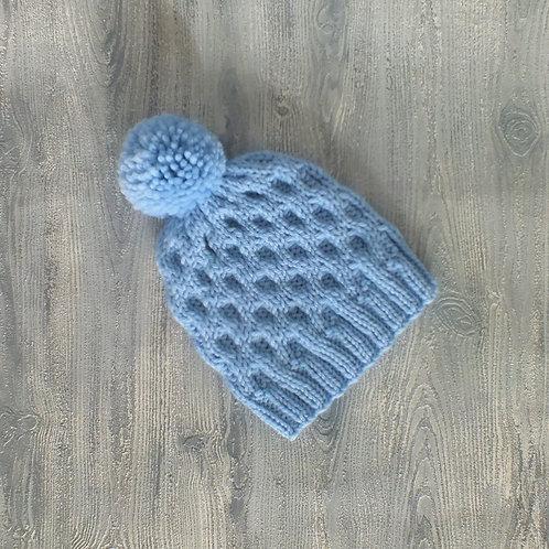 Baby Blue Honeycomb Pom Pom Beanie