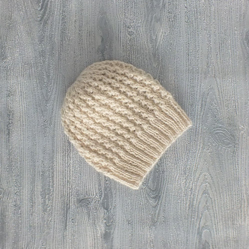 Oatmeal Lace Baby Beanie