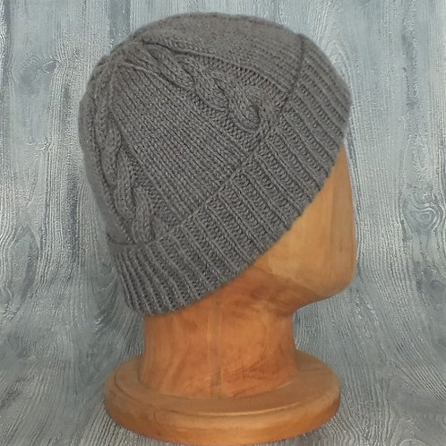 Dove Grey Cabled Beanie