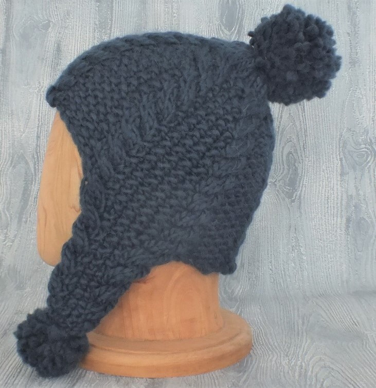Cabled Earflap Beanie with Pom Poms