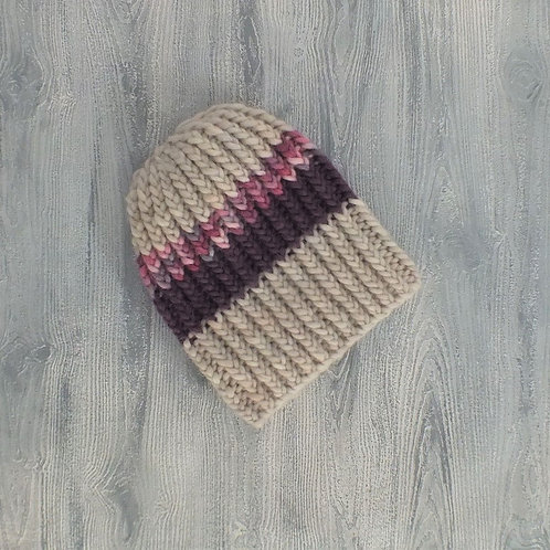 Oatmeal and Plum Beanie