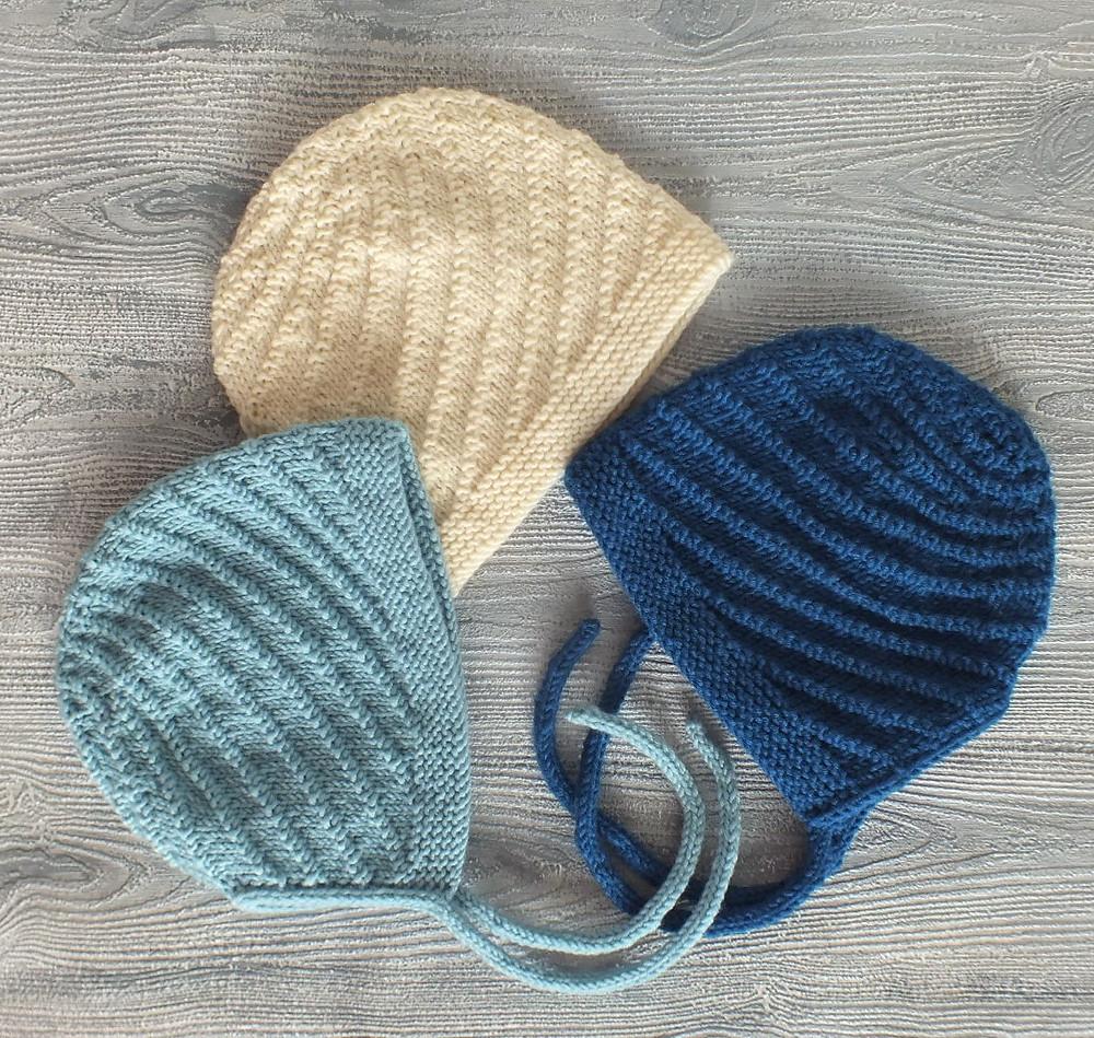 Pure Merino Swirl Baby Bonnets