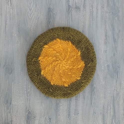 Golden Glow Alpaca Beret top view