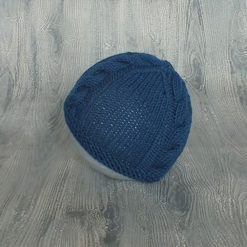 Teal Cabled Baby Beanie