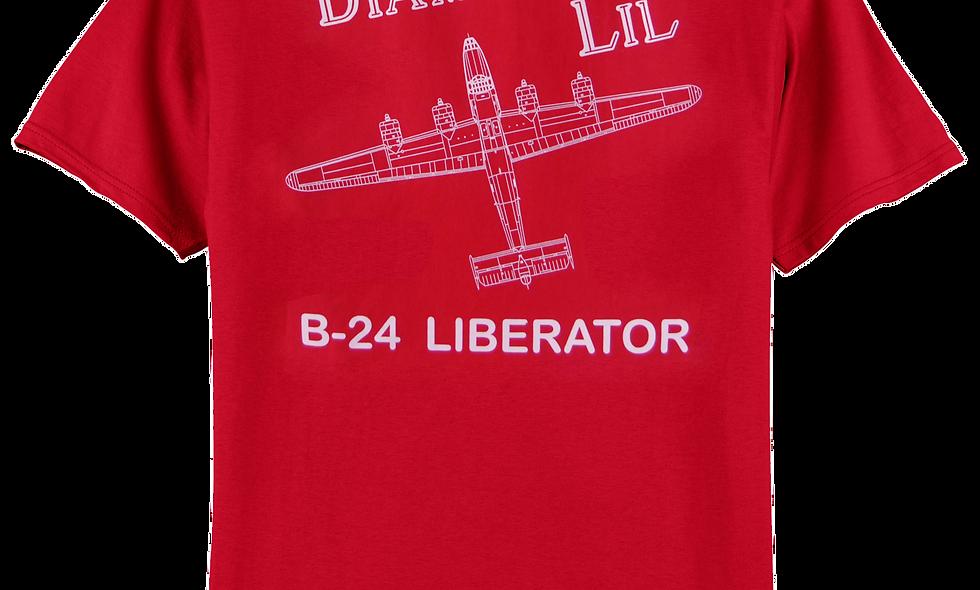"B-24 Liberator ""Diamond Lil"" Plan View T-shirt"