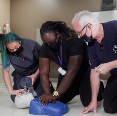 Medical Assistant School Student learning CPR in BLS Training