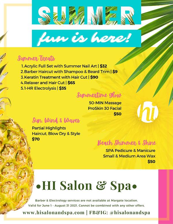 HI Salon & Spa - Summer 2021 Promotions.