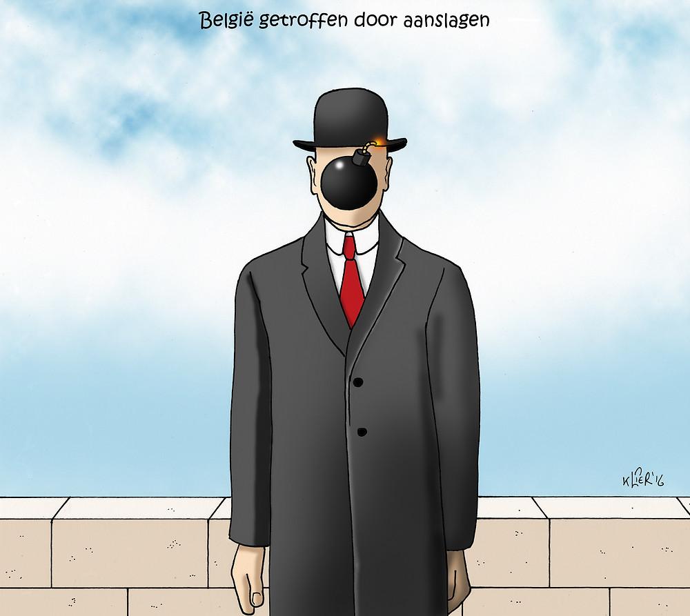ベルギーの画家マグリットの名画を模倣して、ベルギーの怒りを表現したイラストもSNSで話題に。(c) Kurt Valkeneers European Cartoon Center Kruishoutem にて3月27日より5月1日までブリュッセル・テロに関連した漫画の展覧会開催