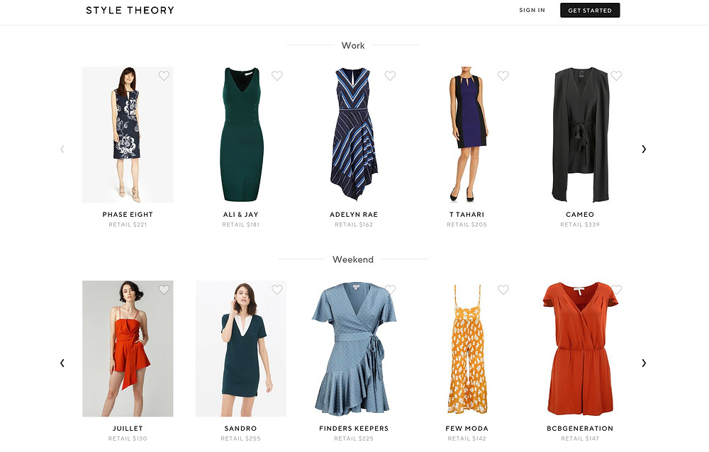 「スタイル・セオリー」でレンタルできるアイテムの一例。仕事着、週末服などTPOによって分類されている