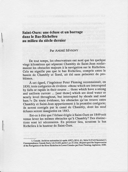 Saint-Ours : une écluse et un barrage dans le Bas-Richelieu au milieu du siècle