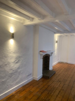 Flooring, beams and fireplace