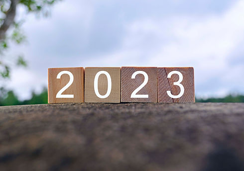 2023 number on wooden block on top of bi
