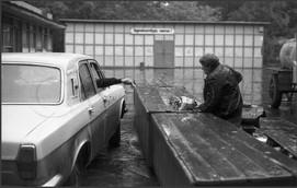 В дождь на цветочном рынке. Новокузнецк. 15.06.1985