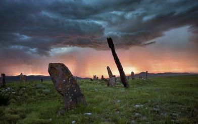 Гроза над Уйбатским чаатасом. Минусинская котловина. Хакасия. 27.07.2005
