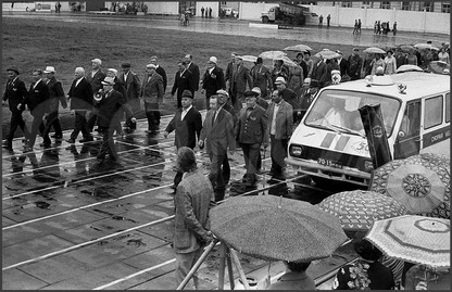 Репетиция парада ветеранов перед Днем Города. Стадион «Металлург». 4.07.1981