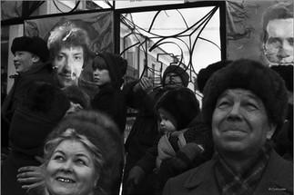 Зрители и передовики производства. Праздник Масленица в Орджоникидзевском районе. Новокузнецк. 24.03.1985