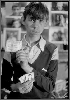 Валера - портрет с табличкой на памятник отцу. 30.04.1987