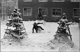Елки во дворе детского сада на улице Энтузиастов. Новокузнецк. 30.01.1984